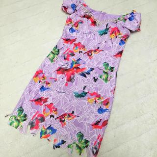 デイジーストア(dazzy store)のパープル♡花柄カッティングドレス(ミディアムドレス)