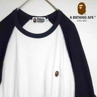 アベイシングエイプ(A BATHING APE)のA BATHING APE ワッフルラグランカットソー L(Tシャツ/カットソー(七分/長袖))