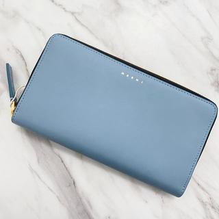マルニ(Marni)の【新品】MARNI マルニ ロゴ 長財布 ラウンドジップ くすみブルー(財布)