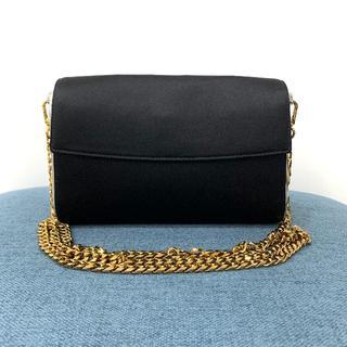 クリスチャンディオール(Christian Dior)の美品 クリスチャンディオール サテン 2way クラッチバッグ 黒(クラッチバッグ)