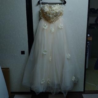 ウエディングドレス 二次会 オフホワイト チュール フラワー M (ウェディングドレス)
