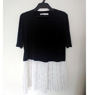 ビーシービージーマックスアズリア(BCBGMAXAZRIA)のBCBG  五分袖デザインカットソー(Tシャツ/カットソー(半袖/袖なし))