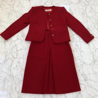 スーツ セットアップ 古着 ヴィンテージ  赤 長袖 フォーマル バブル 昭和(スーツ)