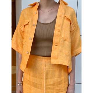ロンハーマン(Ron Herman)の美品 <AURALEE> ポケットショートスリーブシャツ リネンジャケット(シャツ/ブラウス(半袖/袖なし))