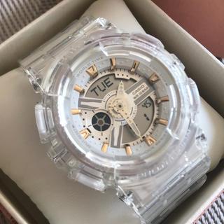 ベビージー(Baby-G)のBaby-g クリア デジアナ 白 ホワイト レディース 電池新品 カスタム(腕時計)