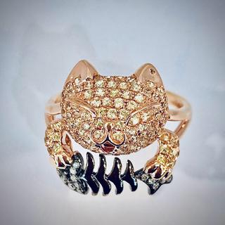 K18PGダイヤモンド猫モチーフリング(リング(指輪))