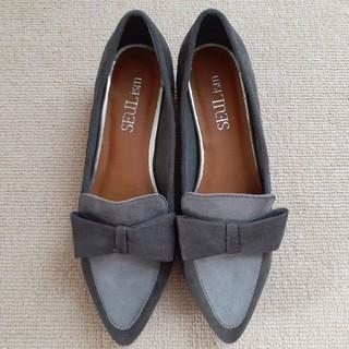 リボン付きローファー Mサイズ バイカラー グレー系 スエード スウェード(ローファー/革靴)