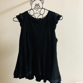 ミュウミュウ(miumiu)のmiumiu ミュウミュウ ブラウス 袖フリル トップスXS 黒(シャツ/ブラウス(半袖/袖なし))
