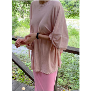 エディットフォールル(EDIT.FOR LULU)のcepto  round neck loose tee (pink)(Tシャツ(長袖/七分))