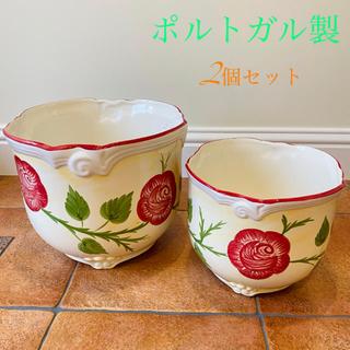 ポルトガル製 陶器のプランター二個セット(プランター)