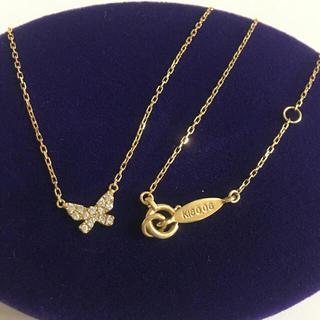 アーカー(AHKAH)の美品 アーカー k18 YG バタフライ パウェ ダイヤ ネックレス ✨ 18金(ネックレス)