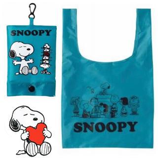 スヌーピー(SNOOPY)のスヌーピー フック付き コンパクト エコバッグ コンビニバッグ ブルー(エコバッグ)
