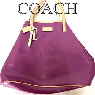コーチ(COACH)のCOACH パープルハンドバッグ(ハンドバッグ)