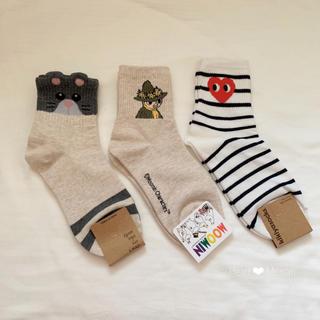 ウィゴー(WEGO)の韓国 レディース 靴下 3点+1点おまけ ❤︎ ムーミン スナフキン  新品(ソックス)