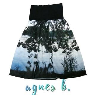 アニエスベー(agnes b.)のアニエスベー 転写 フレア スカート 風景 人気 agnesb 湖 希少 レア(ひざ丈スカート)