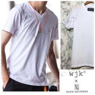 ダブルジェーケー(wjk)の【セット割】wjk Tシャツ Vネック S ナノユニバース 別注 白 ホワイト(Tシャツ/カットソー(半袖/袖なし))