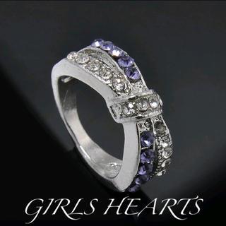 送料無料22号クロムシルバーアメジストスーパーCZダイヤデザイナーズリング指輪(リング(指輪))