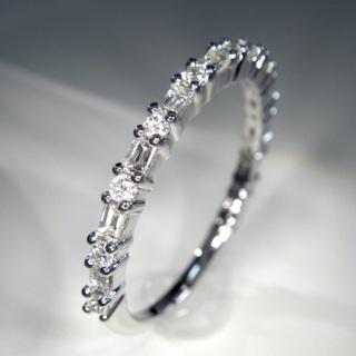 一文字❗️K18WG ホワイトゴールド 0.37ct ダイヤモンド リング (リング(指輪))