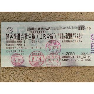 ジェイアール(JR)の青春18きっぷ 残1回分(鉄道乗車券)