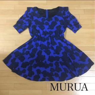 ムルーア(MURUA)の美品 MURUA ひざ丈ワンピース 花柄(ミニワンピース)