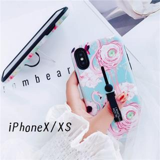 SALE!iPhoneX iPhoneXS カバー ケース フラミンゴ ブルー(iPhoneケース)