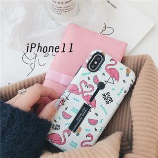 SALE!iPhone11 カバー ケース フラミンゴ ホワイト(iPhoneケース)