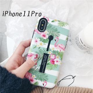 SALE!iPhone11Pro カバー ケース フラミンゴ グリーン(iPhoneケース)