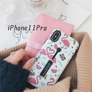 SALE!iPhone11Pro カバー ケース フラミンゴ ホワイト(iPhoneケース)
