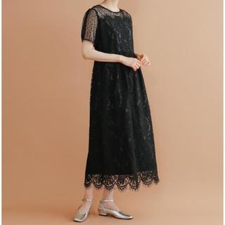 メルロー(merlot)の【値下げ中】merlot plus デコルテドットチュールレースワンピース(ロングドレス)