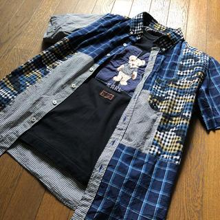 ピンクハウス(PINK HOUSE)のカールヘルム パッチワークシャツ オリチェ×ギンガム×迷彩(シャツ)