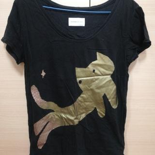 ツモリチサト(TSUMORI CHISATO)の【TSUMORI CHISATO・レディース】 Tシャツ(半袖・黒に猫柄)(Tシャツ(半袖/袖なし))