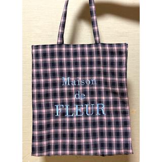 メゾンドフルール(Maison de FLEUR)のメゾンドフルール★チェックロゴ刺繍トートパック美品  値下げしました!(トートバッグ)