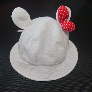アカチャンホンポ(アカチャンホンポ)のベビー帽子 46cm 耳つき リボンつき(帽子)