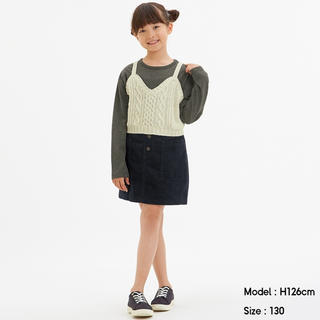 GU(ジーユー) GIRLSフロントボタンスカート コーデュロイ 黒130cm