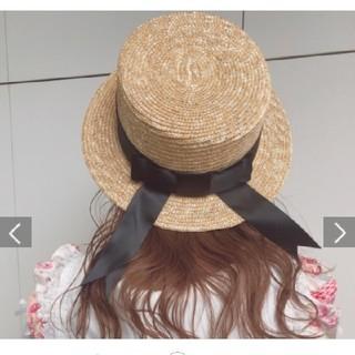 リズリサ(LIZ LISA)のサテンリボンカンカン帽(麦わら帽子/ストローハット)