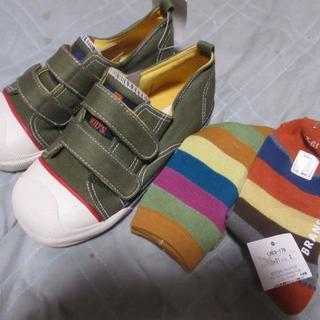 ブランシェス(Branshes)の全て新品☆ブランシェス★19cm★カーキ★靴・シューズ☆靴下2足付(スニーカー)