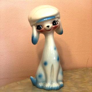 昭和レトロ 犬の置物 プードル 陶器 (置物)