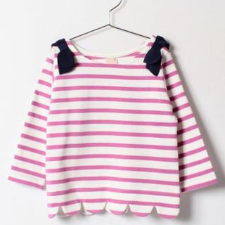プティマイン(petit main)のpetit main(プティマイン) 肩リボンつき裾スカラップボーダー柄Tシャツ(Tシャツ/カットソー)