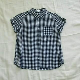 ジーユー(GU)の黒白ギンガムチェック コットンシャツ(シャツ/ブラウス(半袖/袖なし))