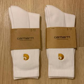 カーハート(carhartt)の【新品】カーハート ソックス 靴下 ホワイト 二足セット(ソックス)