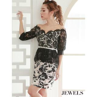 ジュエルズ(JEWELS)のjewels ベルト付き 花柄 ブラック レース ペプラム(ミニドレス)