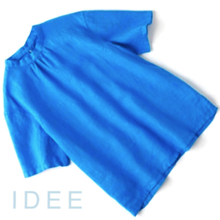 イデー(IDEE)の新品 • POOL 『いろいろの服』スタンドカラーブラウス Sea blue(シャツ/ブラウス(半袖/袖なし))
