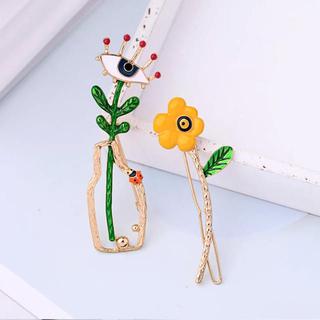 アネモネ(Ane Mone)の花と目ブローチ ヘアピン 2本セット イエロー(ヘアアクセサリー)