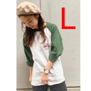 ロデオクラウンズワイドボウル(RODEO CROWNS WIDE BOWL)のロデオクラウンズ LAUREL STラグランルーズトップス ダークグリーン L(Tシャツ/カットソー(半袖/袖なし))