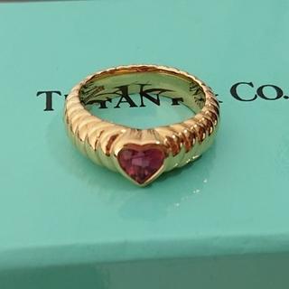 ティファニー(Tiffany & Co.)のTIFFANY リブドフレンドシップリング ピンクトルマリン(リング(指輪))