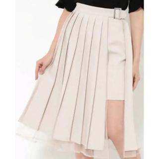イートミー(EATME)のプリーツラップスカート ベージュ(ひざ丈スカート)