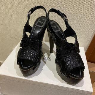クリスチャンディオール(Christian Dior)のディオール 黒 パイソンレザーサンダル(サンダル)