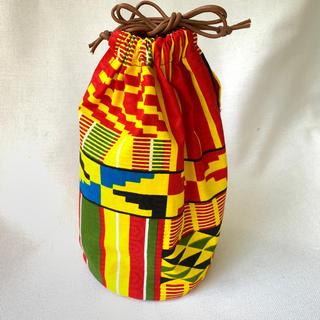 マルチカラー アフリカ布でつくった巾着袋 ハンドメイド バオバブ神戸 和装小物(ポーチ)