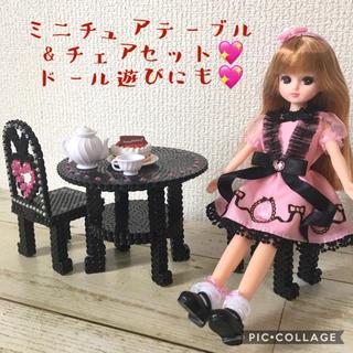 💖ミニチュア家具〜姫系カフェテーブル&チェア(ハートクッション2個)ブラック(ミニチュア)