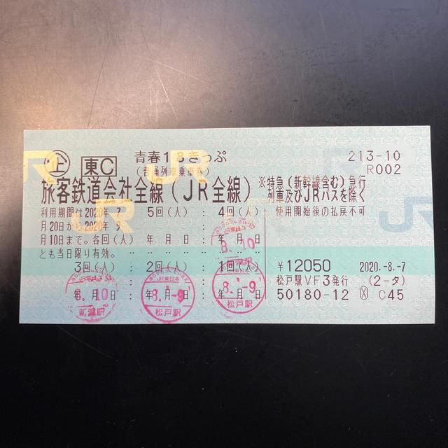 JR(ジェイアール)の青春18きっぷ 残1回 返却不要 チケットの乗車券/交通券(鉄道乗車券)の商品写真